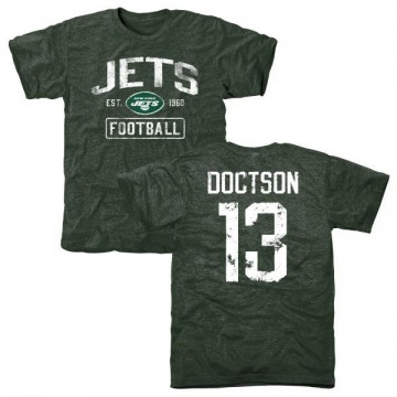 Men's Josh Doctson New York Jets Green Distressed Name & Number Tri-Blend T-Shirt