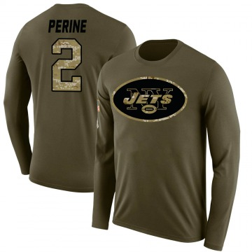 Men's La'Mical Perine New York Jets Salute to Service Sideline Olive Legend Long Sleeve T-Shirt