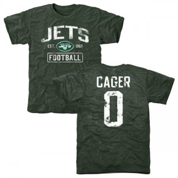Men's Lawrence Cager New York Jets Green Distressed Name & Number Tri-Blend T-Shirt