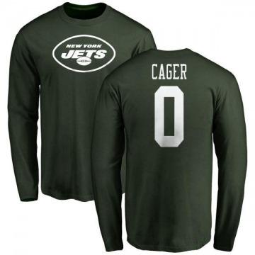 Men's Lawrence Cager New York Jets Name & Number Logo Long Sleeve T-Shirt - Green