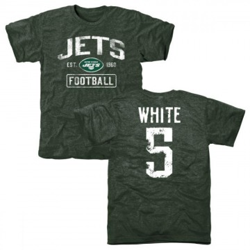 Men's Mike White New York Jets Green Distressed Name & Number Tri-Blend T-Shirt