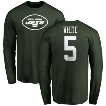 Men's Mike White New York Jets Name & Number Logo Long Sleeve T-Shirt - Green