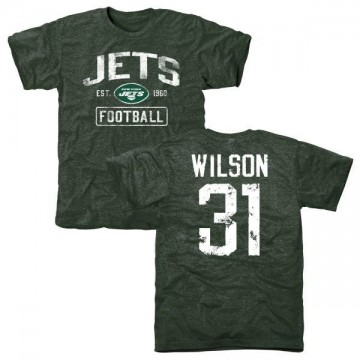 Men's Quincy Wilson New York Jets Green Distressed Name & Number Tri-Blend T-Shirt