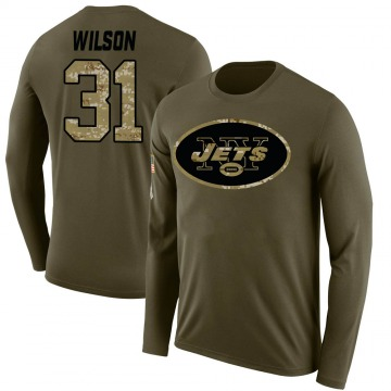 Men's Quincy Wilson New York Jets Salute to Service Sideline Olive Legend Long Sleeve T-Shirt