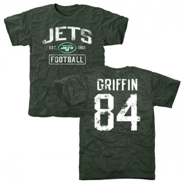 Men's Ryan Griffin New York Jets Green Distressed Name & Number Tri-Blend T-Shirt