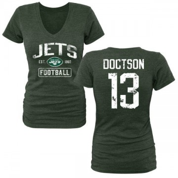 Women's Josh Doctson New York Jets Green Distressed Name & Number Tri-Blend V-Neck T-Shirt