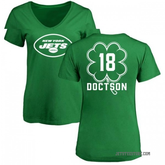 Women's Josh Doctson New York Jets Green St. Patrick's Day Name & Number V-Neck T-Shirt