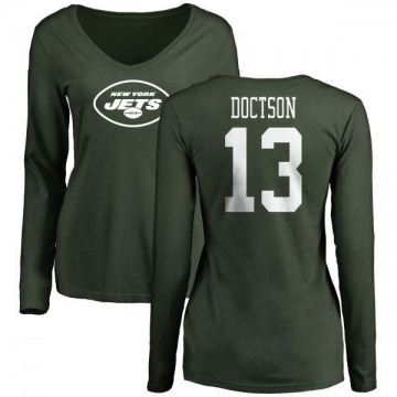 Women's Josh Doctson New York Jets Name & Number Logo Slim Fit Long Sleeve T-Shirt - Green
