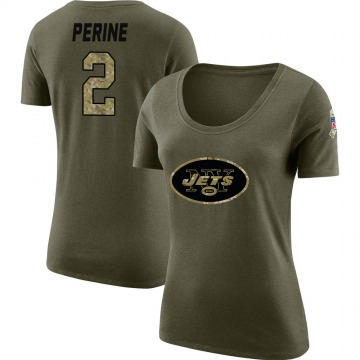 Women's La'Mical Perine New York Jets Salute to Service Olive Legend Scoop Neck T-Shirt
