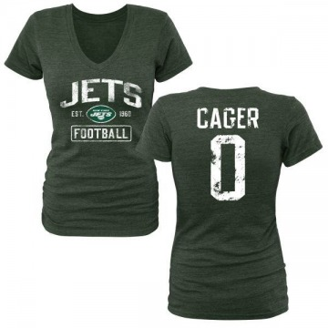 Women's Lawrence Cager New York Jets Green Distressed Name & Number Tri-Blend V-Neck T-Shirt