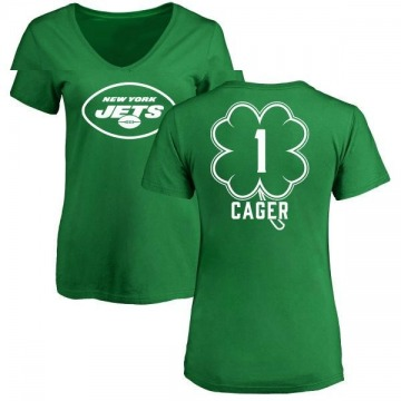 Women's Lawrence Cager New York Jets Green St. Patrick's Day Name & Number V-Neck T-Shirt