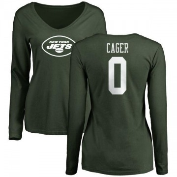 Women's Lawrence Cager New York Jets Name & Number Logo Slim Fit Long Sleeve T-Shirt - Green
