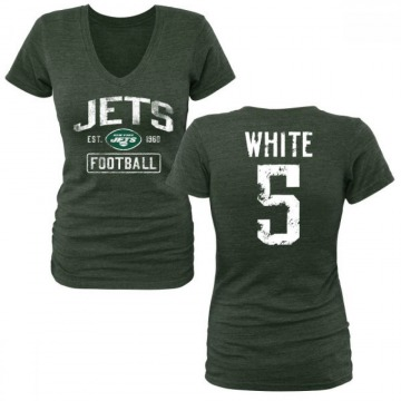 Women's Mike White New York Jets Green Distressed Name & Number Tri-Blend V-Neck T-Shirt