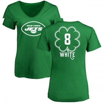 Women's Mike White New York Jets Green St. Patrick's Day Name & Number V-Neck T-Shirt