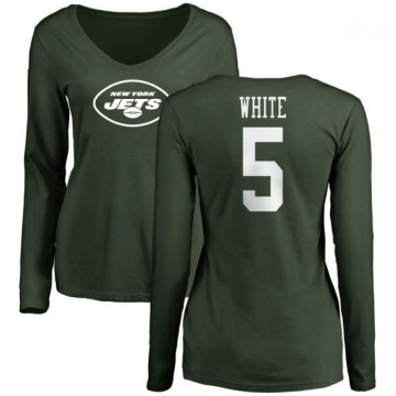 Women's Mike White New York Jets Name & Number Logo Slim Fit Long Sleeve T-Shirt - Green