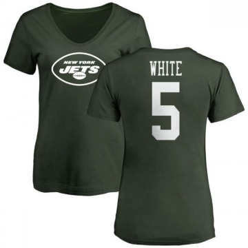 Women's Mike White New York Jets Name & Number Logo Slim Fit T-Shirt - Green
