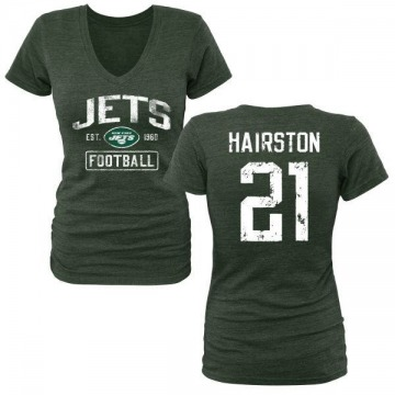Women's Nate Hairston New York Jets Green Distressed Name & Number Tri-Blend V-Neck T-Shirt