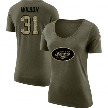 Women's Quincy Wilson New York Jets Salute to Service Olive Legend Scoop Neck T-Shirt