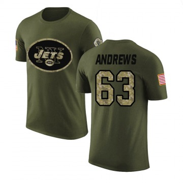 Youth Josh Andrews New York Jets Olive Salute to Service Legend T-Shirt