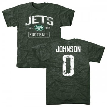 Youth Sterling Johnson New York Jets Green Distressed Name & Number Tri-Blend T-Shirt